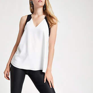 River Island Cream V neck contrast tank top