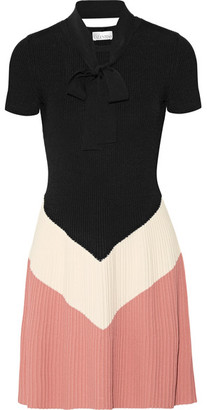 REDValentino - Pussy-bow Color-block Ribbed-knit Mini Dress - Black $650 thestylecure.com
