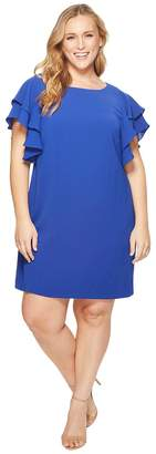 Adrianna Papell Plus Size Gauzy Crepe Ruffle Sleeve Shift Women's Dress
