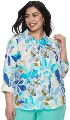 Blend of America Plus Size Cathy Daniels Floral Linen Shirt