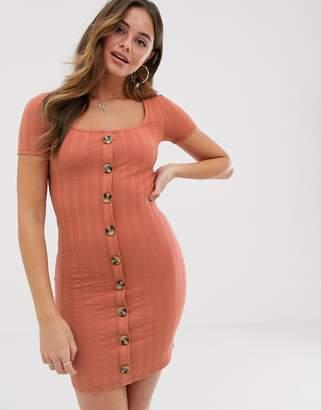 Miss Selfridge button through jersey dress in rust