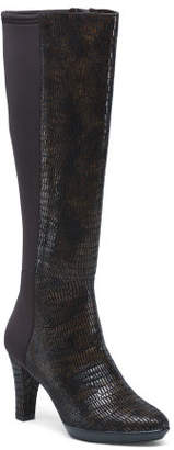 Snakeskin Knee High Leather Boots