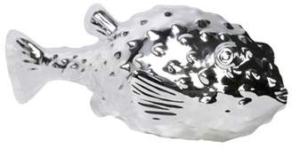 URBAN TRENDS COLLECTION Urban Trends Collection: Porcelain Fish Figurine, Gloss Finish, White