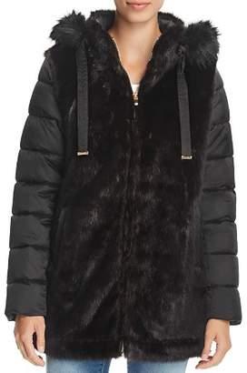 Via Spiga Mixed Media Faux Fur & Puffer Coat