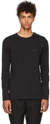 Balmain Black Long Sleeve Embroidered Logo T-Shirt