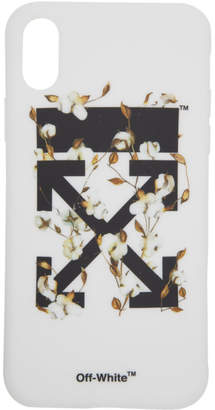 Off-White White and Black Cotton Flower iPhone X Case
