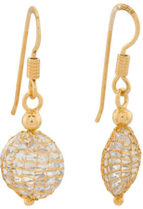 Made In Italy Sterling Silver Mesh Cz Drop Earrings