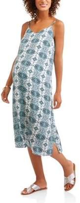 Whoa, Wait Maternity Maxi Slip Dress with Cross Back Straps