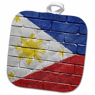 3dRose National flag of Philippines painted onto a brick wall Filipino - Pot Holder, 8 by 8-inch