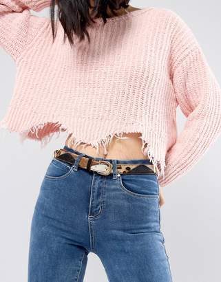 Leon And Harper and Harper Skinny Belt in Patched Pony Skin