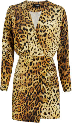 Cushnie Leopard Print Silk Mini Dress