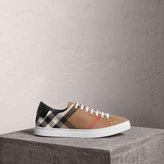 Burberry House Check and Leather Sneakers