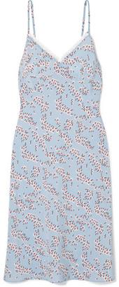 Markus Lupfer Ebony Lace-trimmed Floral-print Silk Crepe De Chine Dress - Light blue