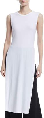 Rosetta Getty Split-Side Ribbed Jersey Maxi T-Shirt