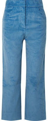 Sandy Liang - Zach Cropped Cotton-corduroy Wide-leg Pants - Blue