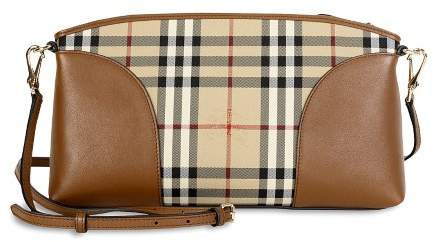 Burberry Horseferry Check and Leather Clutch - Honey/Tan