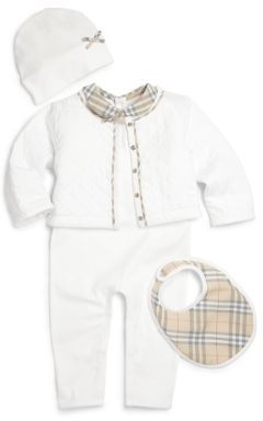 Burberry Baby's Four-Piece Jacket, Coverall, Hat & Bib Set $295 thestylecure.com