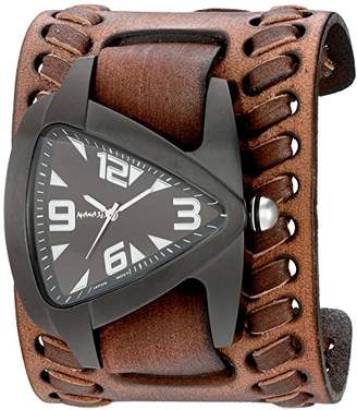 Nemesis Men's 'Ion-Plated IP Teardrop' Quartz Stainless Steel and Leather Watch