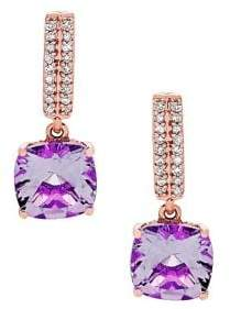 Lord & Taylor 14K Rose Gold, Diamond and Amethyst Earrings