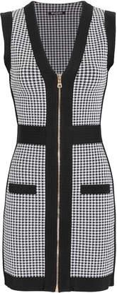 Balmain Houndstooth Zip-Up Mini Dress