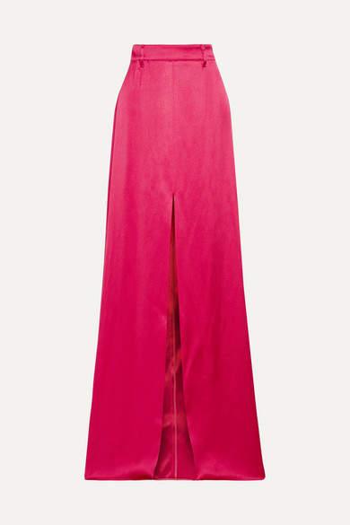 Prada - Satin Maxi Skirt - Red