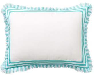 Pottery Barn Teen Fringe Border Monogram Pillow Covers, 12x16, Pool