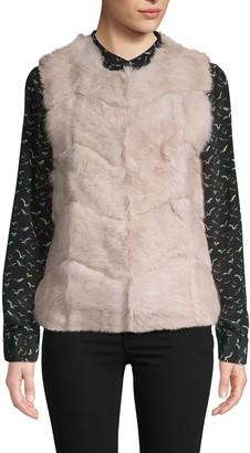 DOLCE CABO Chevron Rabbit Fur Vest