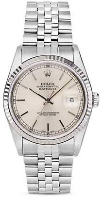 Moncler Pre-Owned Rolex Stainless Steel and 18K White Gold Datejust Watch with Fluted Bezel and Silver Dial, 36mm