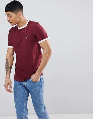 Lyle & Scott logo ringer t-shirt in burgundy