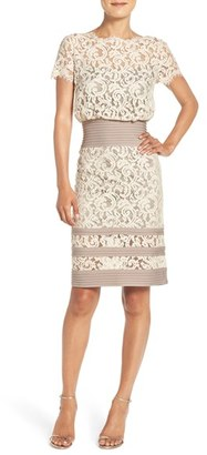 Women's Tadashi Shoji Mixed Media Blouson Dress $268 thestylecure.com