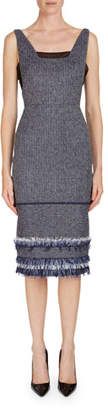 Roland Mouret Riseley Sleeveless Tweed Dress with Mesh Insets
