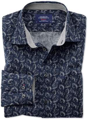 Charles Tyrwhitt Classic Fit Dark Blue Leaf Print Cotton Casual Shirt Single Cuff Size Large