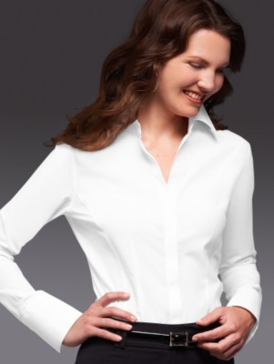 Wrinkle-resistant stretch cotton blouse