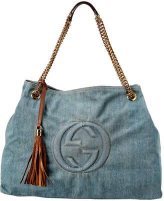 Gucci Blue Denim Soho Shoulder Bag