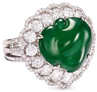 LC Collection Jade Diamond jade 18k gold peach ring