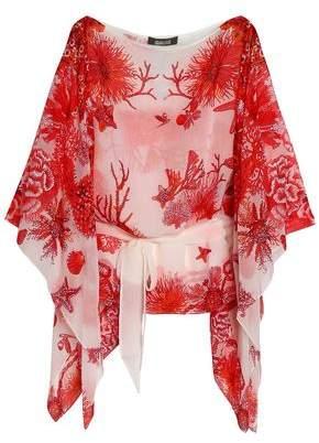 Roberto Cavalli Draped Printed Silk-Chiffon Blouse