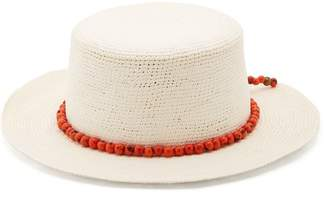 Sensi Studio - Hippie Bead Embellished Woven Straw Hat - Womens - White