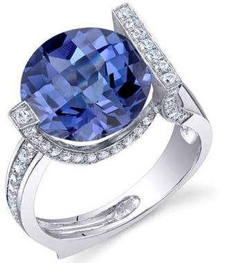 Oravo 7.00 Carat T.G.W. Created Alexandrite Rhodium-Plated Sterling Silver Engagement Ring