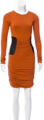 Faith Connexion Leather-Accented Ruched Dress w/ Tags