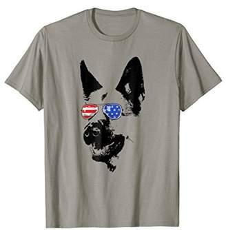 German Shepherd Dog American Flag Glasses TShirt 4th of July