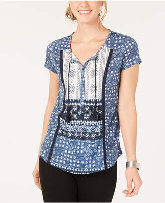 Style&Co. Style & Co Printed Crochet-Trim Top