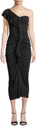 Rachel Pally Jacqueline One-Shoulder Ruched Ruffle Dress, Plus Size