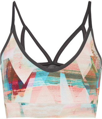 Bodyism - I Am Calm Mesh-paneled Printed Stretch-jersey Sports Bra - Pastel pink $135 thestylecure.com