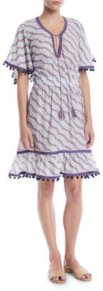Talitha Collection Amyra Short-Sleeve Zigzag-Print Short Dress w/ Pompom Trim