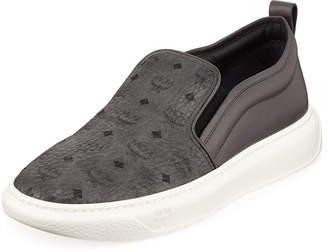 MCM Men's Visetos Canvas/Leather Slip-On Sneakers