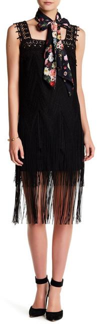 Anna SuiAnna Sui Sparkle Knit Fringe Sleeveless Dress