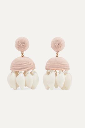 Rebecca De Ravenel Aquazzura Riviera Cord, Bead And Shell Clip Earrings - Pink