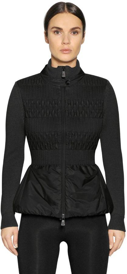 MonclerWool Knit & Nylon Padded Jacket
