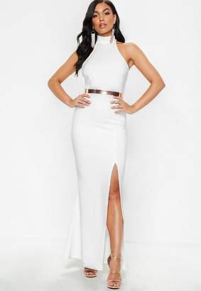 Missguided Petite White Racer Back Maxi Dress