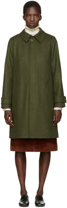 A.P.C. Green Mac Dinar Trench Coat $635 thestylecure.com